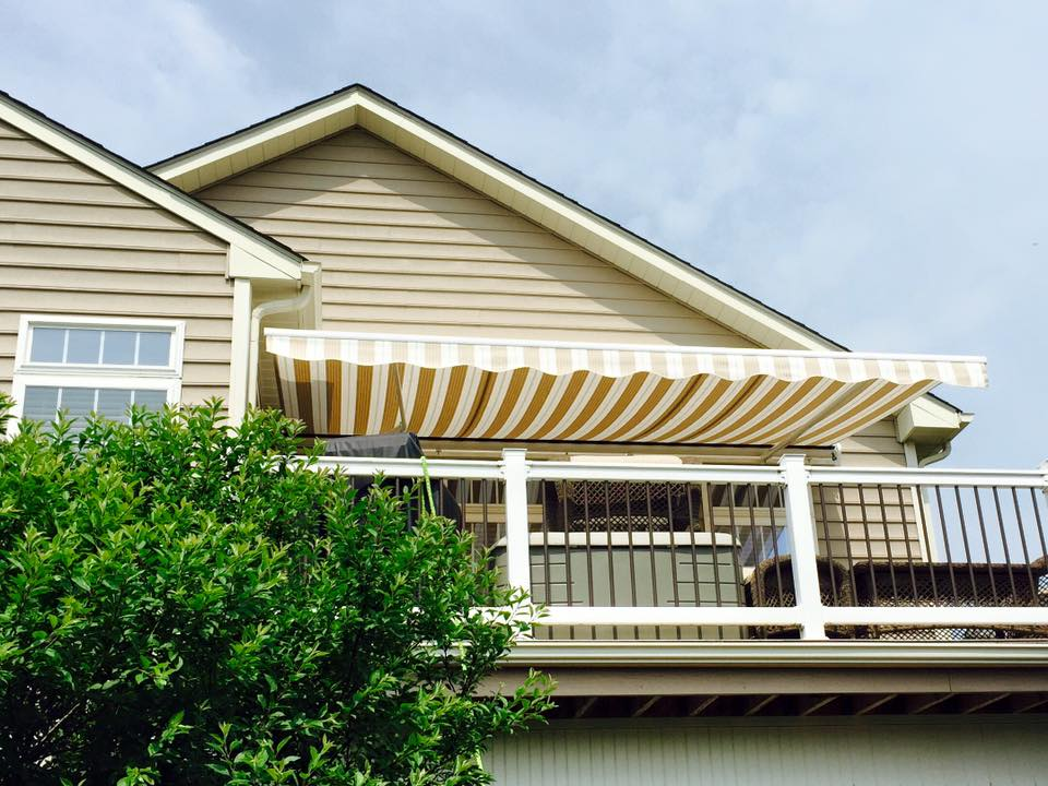 Akron Canton Awning Retractable Yellow Awning