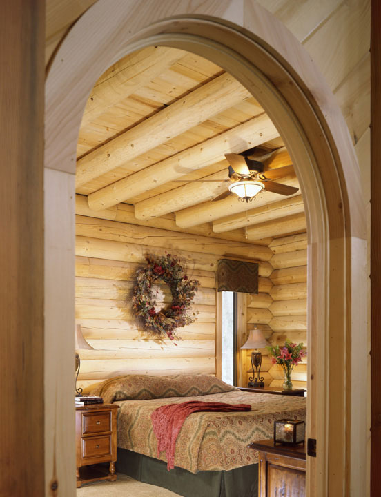 Capron Construction Company Log Home Arch Interior