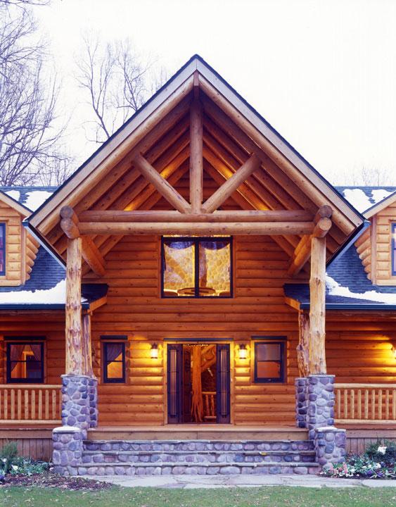 Capron Construction Company Log Home Facade