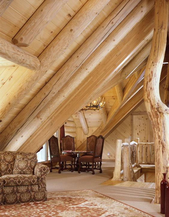 Capron Construction Company Log Home Loft Interior