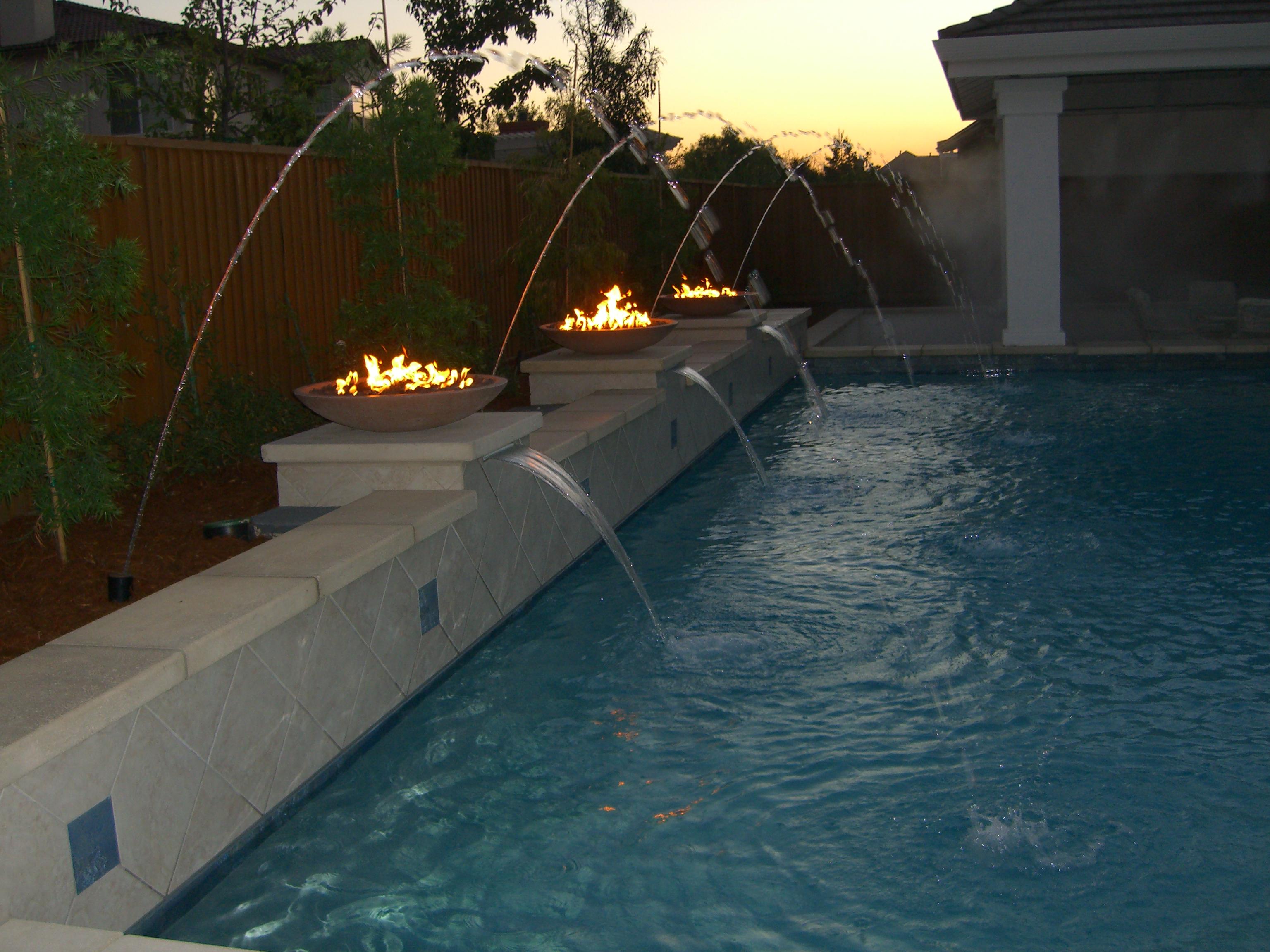 Custom Fireplace Shop Pool Light Fire Torches