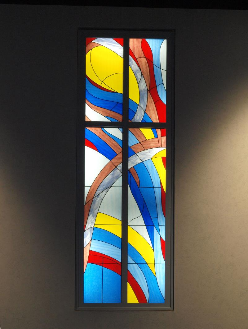 stained glass centre abstract window