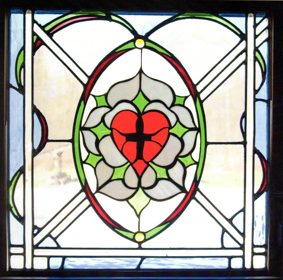 stained glass centre heart window